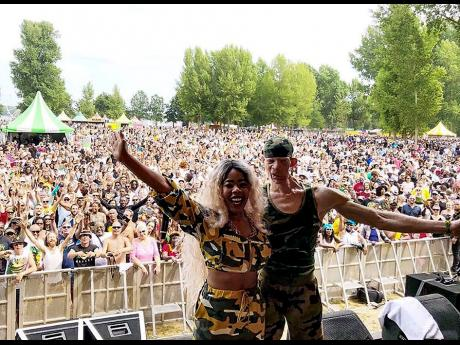 K'reema (left) and Yellowman at a show before the pandemic.